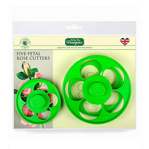 Flower Pro Five Petal Rose Cutters (Set of 3) for Cake Decorating, Sugarcraft, Candies and Clay, Food Safe