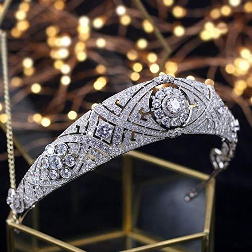 SWEETV Rhinestone Wedding Crown- Pageant Queen Tiara Headband Royal Bridal Crown, Bridal Hair Accessories for Women, Silver -