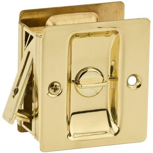 Kwikset 333 Notch Bed/Bath Pocket Door Lock in Polished Brass