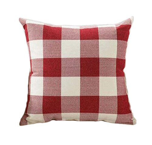 Red Pale-complexioned Christmas Buffalo Checkers Plaids Linen Square Throw Pillow Cover Decorative Cushion Shams Pillowcase Love Cushion Case for Sofa 18 x 18 Inch