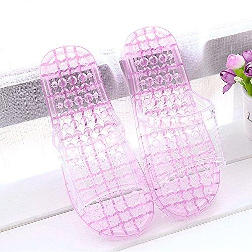 Cómodo Cuarto de baño con las zapatillas Casa de verano femenina con las deslizadores antideslizantes Los amantes gruesos que se bañan los deslizadores del masaje Zapatillas frescas cristalinas plásti C