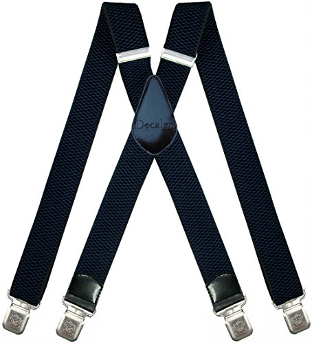 - Mens Suspenders Very Strong Clips Heavy Duty Braces Big and Tall X Style (Navy Blue)