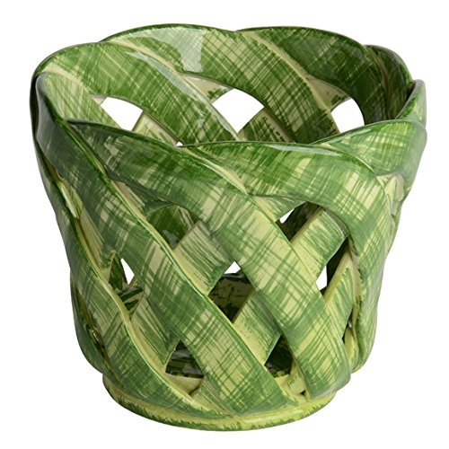 Italian Dinnerware - Medium Green Cachepot - Handmade in Italy from our Intrecci Collection