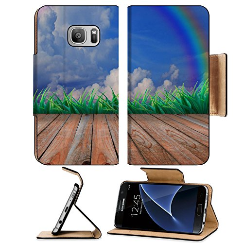 MSD Samsung Galaxy S7 Flip Pu Wallet Case wood terrace and rainbow on the sky Image 15754605 Customized Tablemats Stain Resistanc