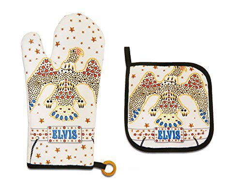 - Midsouth Products Elvis Presley Oven Mitt & Pot Holder Set White Jumpsuit