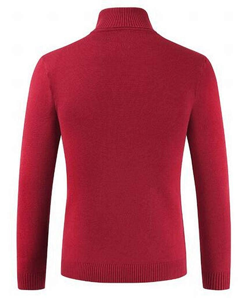 JYZJ Men Turtleneck Basic Solid Long Sleeve Knitted Slim Pullover Thermal Sweaters