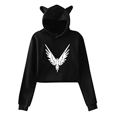 641a6f83e0fd Amazon.com  YoosupperN Womens Logan Paul YouTube Parrot Logo Casual Style  Comfortable Printing Long Sleeve Crop Top Cat Ear Hoodie  Clothing