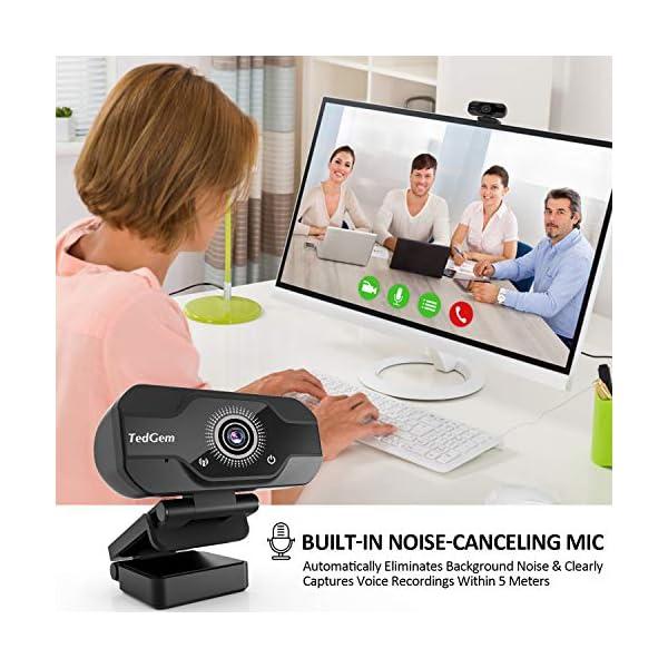 TedGem Webcam, Full HD 4K/1080P PC Webcam Camera con Microfono USB Live Streaming Webcam per Videochiamate e… 2 spesavip
