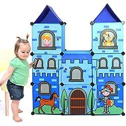 Moon Moon Portable Clothes Closet Wardrobe for Children and Kids, Cartoon Castle wardrobe, DIY Portable Closet Organizer, DIY Modular Storage Organizer(Blue)