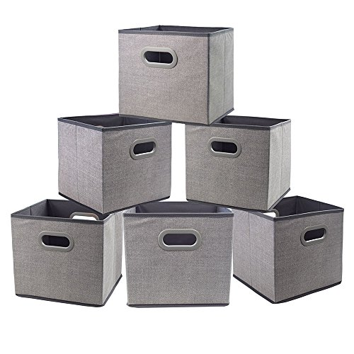 Cloth Storage Bins Cubes Boxes Fabric Baskets Containers,Foldable Closet Shelf Nursery Drawer Organizer for Clothes,Home,Office, Bedroom with Plastic Handles Set of 6 Grey Large(12x12x12 in)