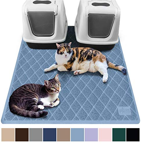 (Gorilla Grip Original Premium Durable Multiple Cat Litter Mat (47x35), XL Jumbo, No Phthalate, Water Resistant, Traps Litter from Box and Cats, Scatter Control, Mats Soft on Kitty Paws (Light Blue))