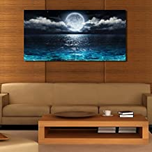 Wall Art Moon Sea Ocean Landscape Paintings Canvas Art Print Paintings for Wall Decor and Home Decor (20 x 40inch x 1pcs )