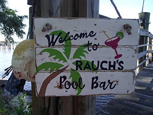 - weewen Custom Pool Bar Custom Margarita Personalized Pool Bar Margarita Bar Swimming Pool Palm Tree Home Decor Wall Plaque Hanging Sign
