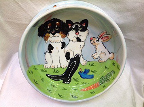 Shih Tzu Dog Bowl, 10'' Dog Bowl for Food or Water. Personalized at no Charge. Signed by Artist, Debby Carman. by Faux Paw Productions, Inc., Laguna Beach, CA