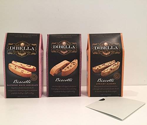 DiBella Gourmet Traditional Artisan Style Italian Biscotti Cookies Variety Bundle: 1-Raspberry White Chocolate, 1-Fig Walnut, 1-Apricot Almond + a Bonus Zee Organic Sweet Coffee Recipe-3+ Items (Christmas Italian Fig Cookies)