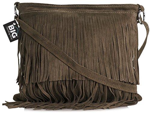 LiaTalia Womens Suede Leather Tassle Fringe Shoulder Bag (Large Size) - Ashley [Deep Taupe]