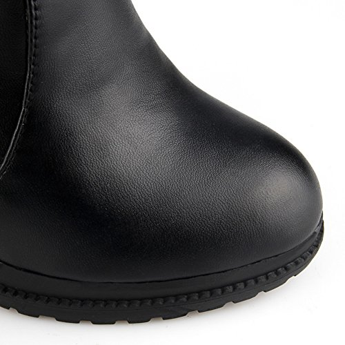 Chukka Smooth Weather Cold Warm Heel High Boots Top Womens Urethane 1TO9 MNS02068 Lining Boots Studded Leather High High Zip Black Waterproof Top Road Ax68a8wUTq