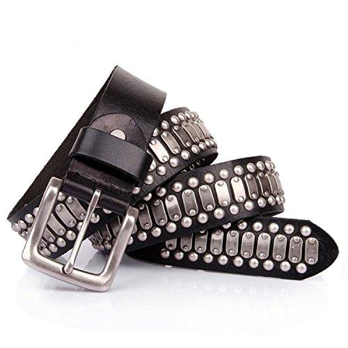 Punk Rock Studded Belt Leather Black (34'') ()
