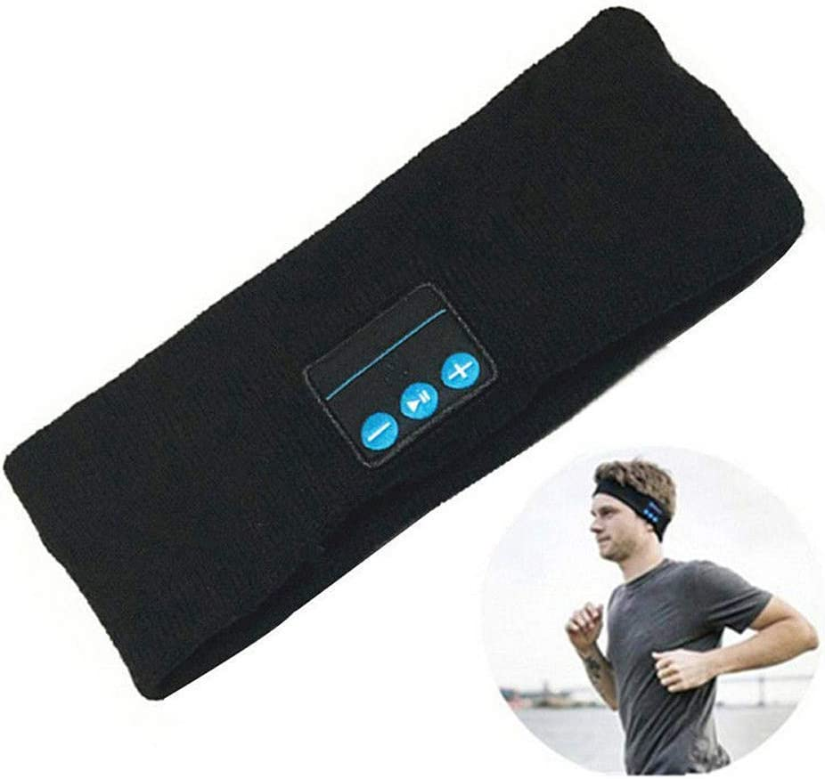 Sports Bluetooth Headband Wireless Earphone Sleep Headphones, Music Headbands Sleeping Headsets for Sleeping Running Yoga Workout (Black)
