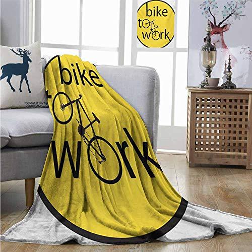 Digital Printing Blanket Yellow Healthy Life Theme Illustration of Bike to Work Circle Design Artwork Print Throw Blanket W40 xL60 Yellow and Black]()