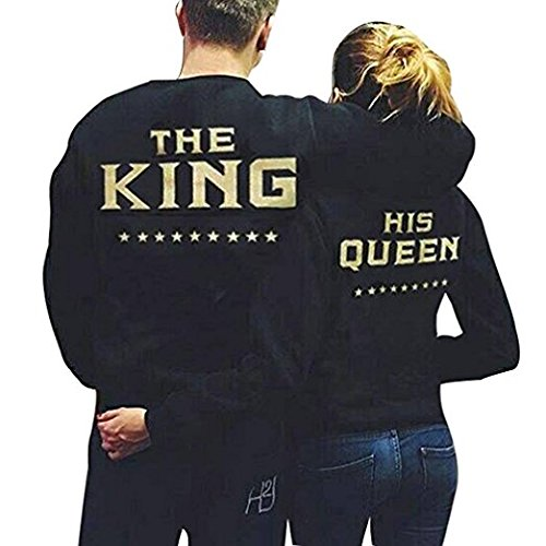 Sholdnut King and His Queen Matching Couple Fleece Lined Sweatshirt Set Valentine's Day Gift His & Hers Pullover