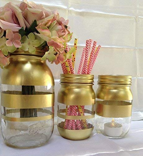 Amazon Com Gold Mason Jar Vases For Centerpieces Rustic Fall Home