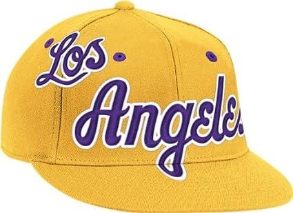 56b43fe71d0 Los Angeles Lakers Vintage Wordmark Flat Bill Flex Hat - Small   Medium