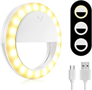 【2020 Upgraded】 Ring Light for Laptop, MCHEETA Portable Selfie Ring Light for iPhone, Rechargeable Phone Ring Light Clip on for Computer/Cellphone/Video Conferencing/Tablets(White)