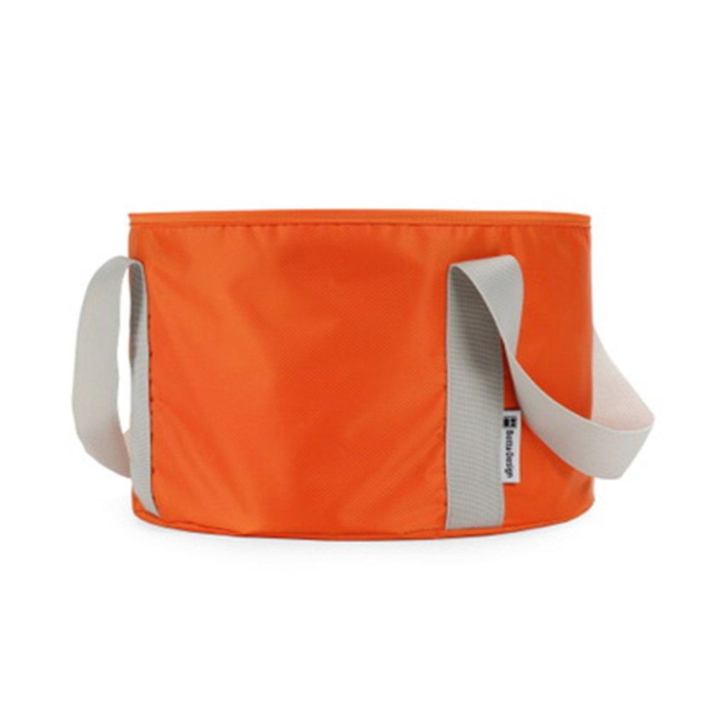 12L-- Portable Outdoor Travel Foldable Folding Camping Washbasin Basin Bucket Bowl Sink Washing Bag Water bucket Wbag (Orange)