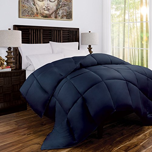 Zen Bamboo Luxury Goose Down Alternative Comforter - All Season Hotel Quality Hypoallergenic Duvet Insert with Cooling Bamboo Blend Fabric - King/Cal King - Navy