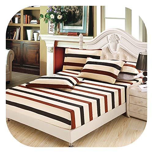 meiguiyuan Plaid 100% Cotton Bed Sheet Fitted Sheet with Elastic Band Bed Set Twin Queen sze Bedlinen 160cmX200cm Size Mattress Cover,Fitted Sheet 10,140cmX200cm 3pcs ()