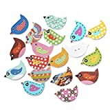 Souarts Mixed Random Bird Shape 2 Holes Wooden Buttons for Sewing Crafting Pack of 100