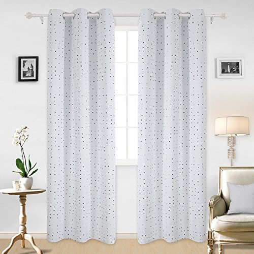 Deconovo Curtains Classy White Room Darkening Curtains For Window Dot Curtains 42W x 95L Inch 2 Panels Multi-colourful (Multi White Dot)