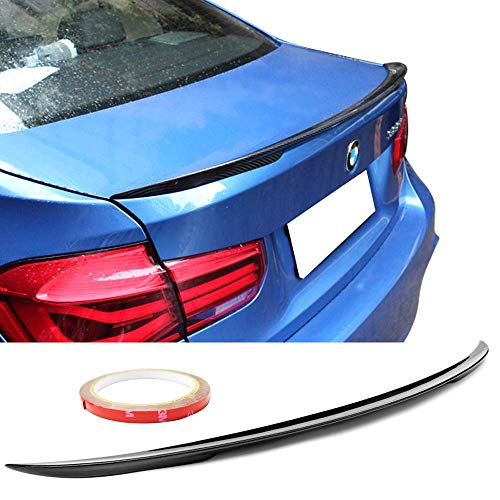 Trunk Spoiler Fits 2012-2019 BMW 3-Series F30 F80 | P Style Carbon Fiber Black Trunk Boot Lid Deck Lip Spoiler Wing By IKON MOTORSPORTS | 2013 2014 2015 2016 2017