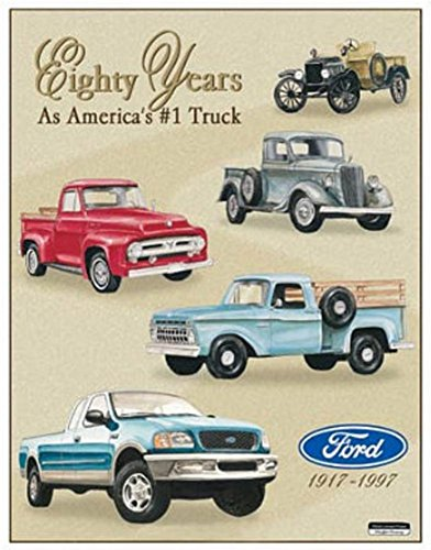 2 Retro Signs (Ford Pickup Trucks 80 Year 1917-1997 Tribute Tin Sign 13 x 16in)