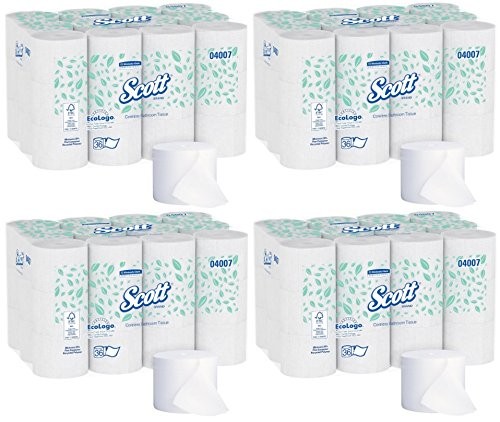 Scott 04007 Coreless 2-Ply Roll Bathroom Tissue, 1000 Sheets Per Roll (4 Case of 36 Rolls) by Kimberly-Clark Professional