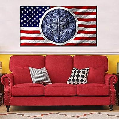 tzxdbh Pintura sobre Lienzo Bandera Americana Bandera Dólares ...