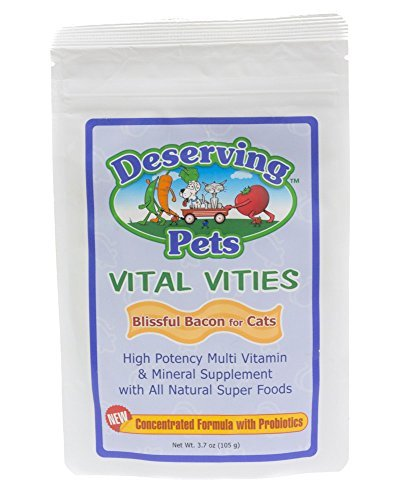 Deserving Pets Vital Vites Blissful Bacon for Cats - High Potency Multi vitamin & Mineral Suppliment with All Natural Super Foods - Feline Vitamin Supplement