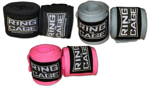 Ring to Cage 120 inches Long Mexican Stretch Handwraps - Pack of 3 Pairs, for Boxing, MMA, Muay Thai, Krav MAGA