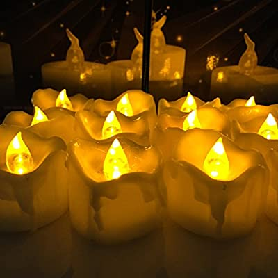 Micandle Amber Yellow Flickering Timing Function Flameless LED Tea Lights Candles with Timer(6 hrs on 18 hrs Off),Wax Dripped Battery Operated Electronic Candles for Wedding, Party and Chirstmas