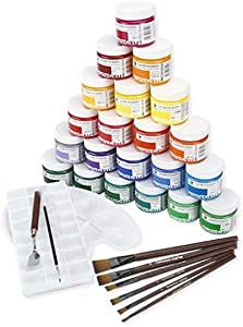 CUIJU Water Color Set 6 Paintbrush 24 Different Vivid Water Colors,Wide for Artists, Students and Beginners
