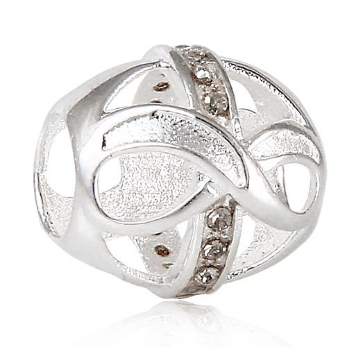 Everbling Infinity Love with Grey Austrian Crystal June Birthstone 925 Sterling Silver Charm Bead Fits Pandora Style Bracelets