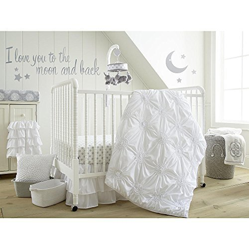 Levtex Baby Willow White 5-Piece Crib Bedding Set, Quilt, 100% Cotton Crib Fitted Sheet, 3-tiered Dust Ruffle, Diaper Stacker and Large Wall Decals by Levtex