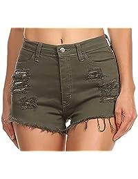 Vibrant Juniors Denim de la Mujer Pantalones Cortos de Cintura Alta Cutoff
