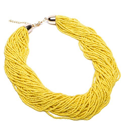 Fashion Multilayer Seed Bead Chain Choker Collar Cluster Strand Handmade Bib Statement Necklace (Yellow)