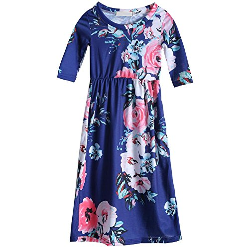 Autumn European Girls Clothing Long Sleeve Floral Dress(Navy Blue)(7-8T) from Iainstars