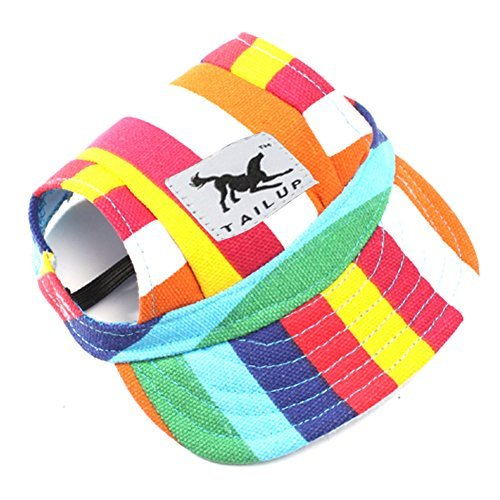 Pet Dog Hats for Small Size Dogs Cideros Visor Design Fashion Dogs Baseball Sun Hats Sport Cap with Ear Holes and Chin Strap - Size M (Strips)