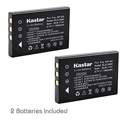 Kastar 2-Pack Battery NP-60 NP60 for HP Photosmart R607 R837 R937 R07 R507 R707 R717 R725 R727 R817 R818 R827 R847 R926 R927 R967 Cameras and Hewlett Packard A1812A L1812A