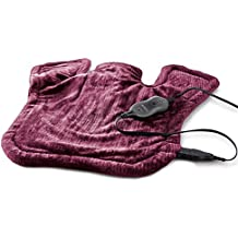 Sunbeam Renue XL Tension Relief Heat Therapy Wrap, Moist/Dry Heat, Digital Controller, 4 Heat-Settings, 2-Hour Auto-Off, Machine Washable, 25'' x 25'', Burgundy