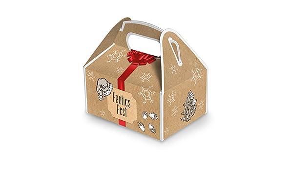 10 Cajas Pequeñas Navidad Cajas de regalo rojo beige de color marrón blanco (9 x 12 x 6 cm, sin mango) Caja para regalos de Navidad cajas de embalaje, ...